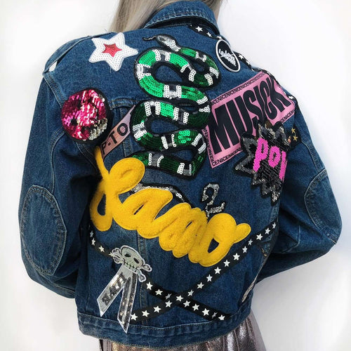 denim jacket with full badges,Posh couture, Curated Designer at Freesigners.com