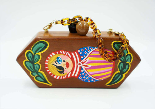 NASTY RUSSIAN DOLL wooden clutch