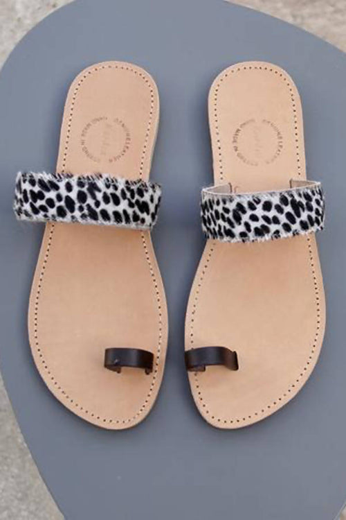 Rhea Slides in textured Animal Print Ponyskin leather,Kardia, Curated Designer at Freesigners.com
