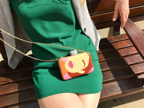 INSTAFACE Wooden Clutch,WOODO unique designer bags, Curated Designer at Freesigners.com