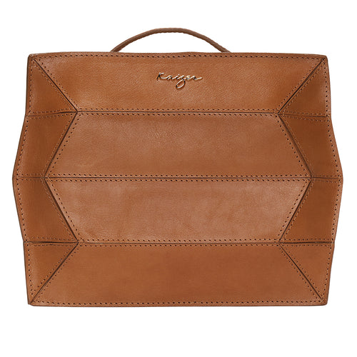 Camel Ascot Leather Backpack,Kaizer, Curated Designer at Freesigners.com