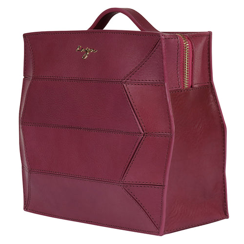 Crimson Ascot Leather Backpack,Kaizer, Curated Designer at Freesigners.com