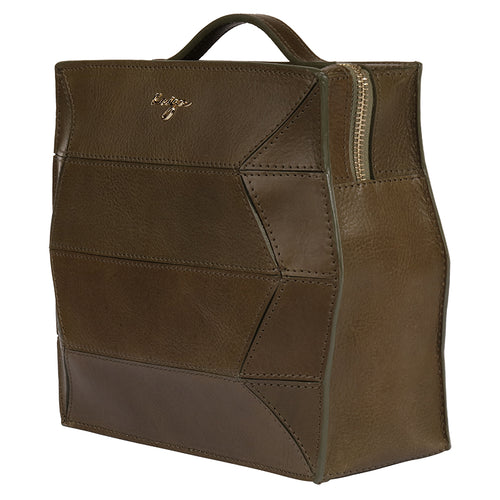 Olive Ascot Leather Backpack,Kaizer, Curated Designer at Freesigners.com