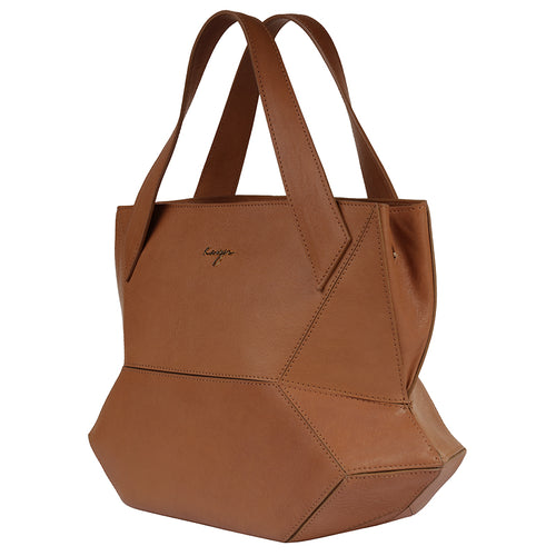 Camel Ascot Tote Leather Handbag,Kaizer, Curated Designer at Freesigners.com