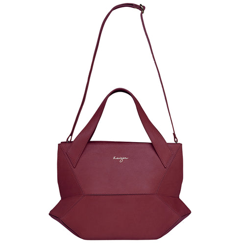 Crimson Ascot Tote Leather Handbag,Kaizer, Curated Designer at Freesigners.com
