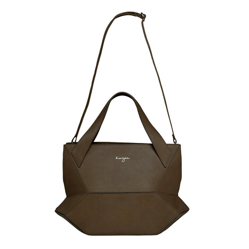 Olive Ascot Tote Leather Handbag,Kaizer, Curated Designer at Freesigners.com