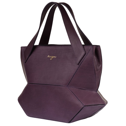Violet Ascot Tote Leather Handbag,Kaizer, Curated Designer at Freesigners.com