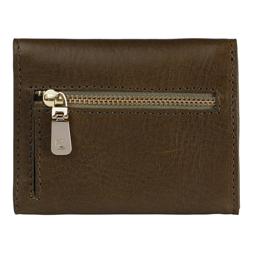 Olive Ascot Leather Wallet,Kaizer, Curated Designer at Freesigners.com