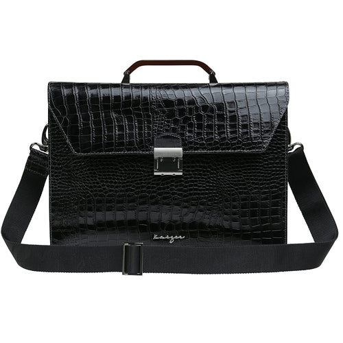 Black Croco Leather Business Bag,Kaizer, Curated Designer at Freesigners.com