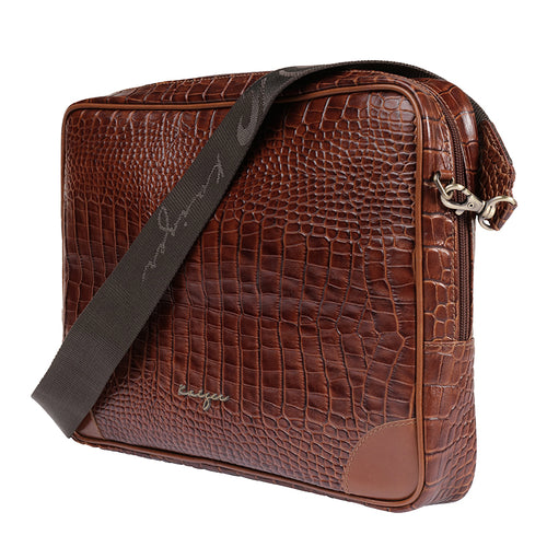 Brown Croco Leather Laptop Bag,Kaizer, Curated Designer at Freesigners.com