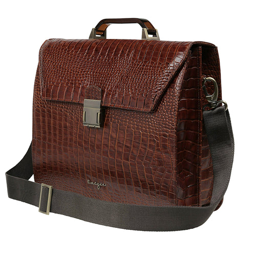 Brown Croco Leather Business Bag,Kaizer, Curated Designer at Freesigners.com