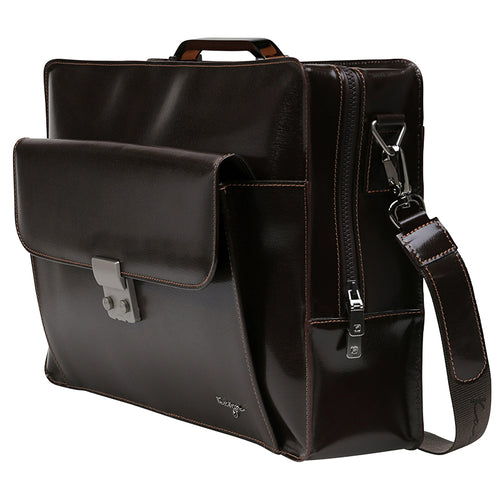 Brown Credence Leather Business Bag,Kaizer, Curated Designer at Freesigners.com