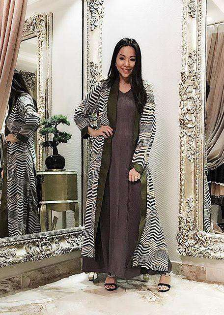 Outer printed maxi jacket