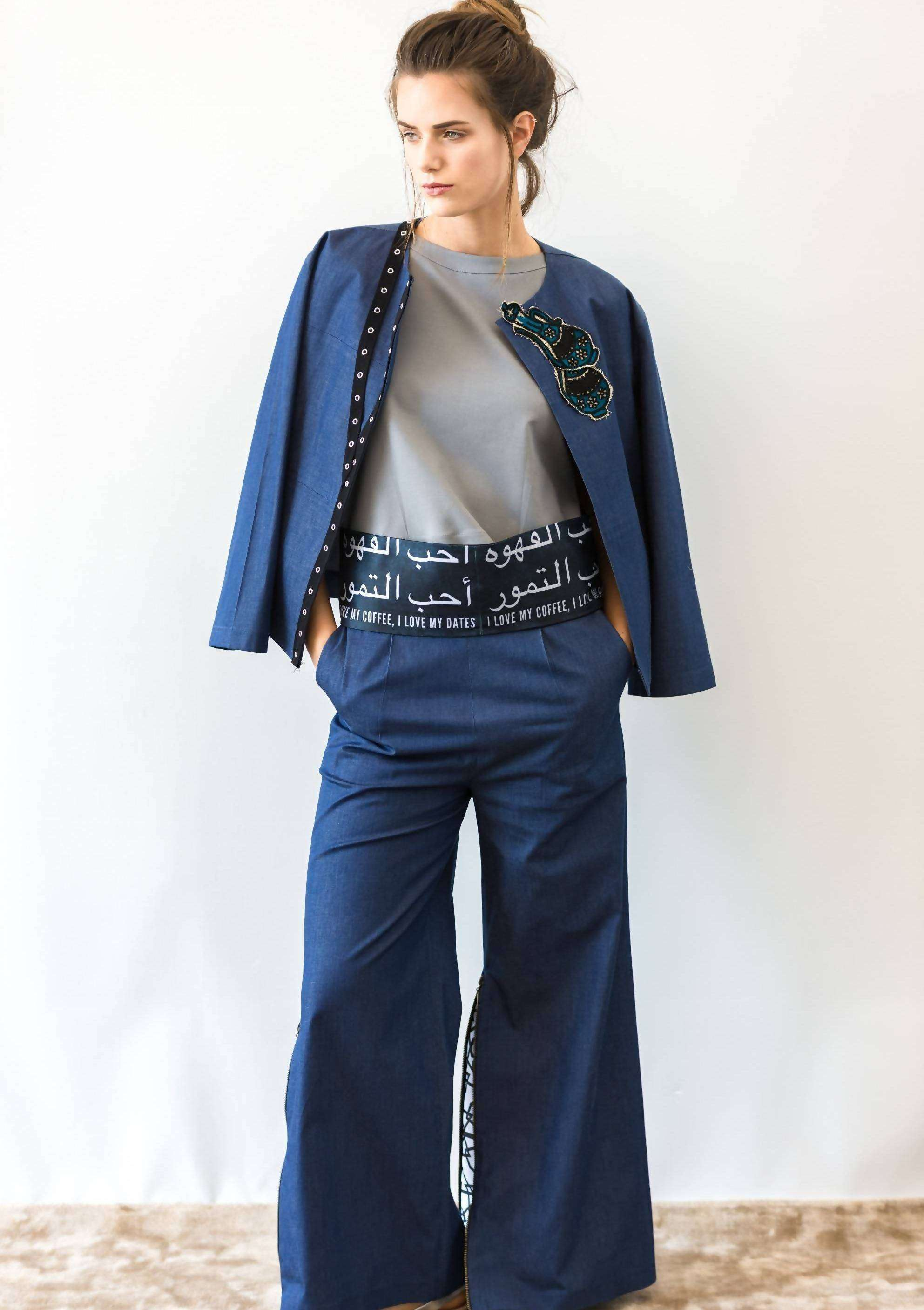 Denim Arabic jacket and pants set,ARSHYS, Curated Designer at Freesigners.com