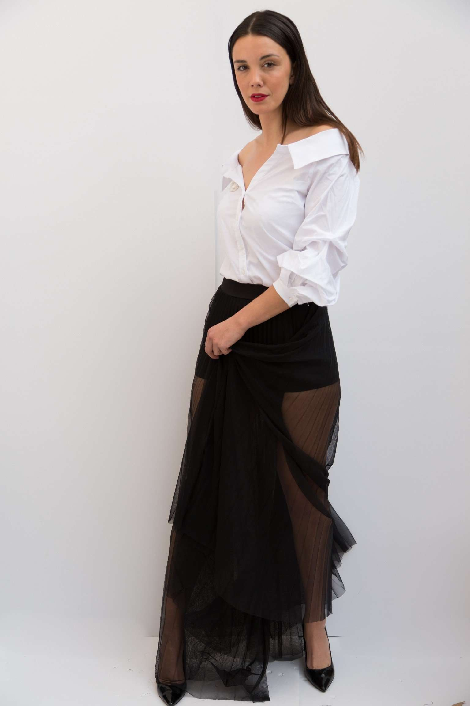 PC465-SHEER PLEATED MAXI SKIRT,Posh couture, Curated Designer at Freesigners.com