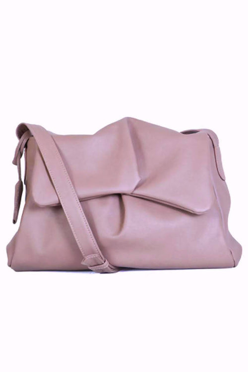 Sui Midi Messenger Hand Bag in Dusky Pink Leather,Kardia, Curated Designer at Freesigners.com