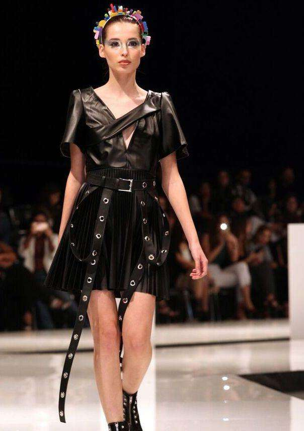 Black leather pleated dress,Hala Kastoun, Curated Designer at Freesigners.com