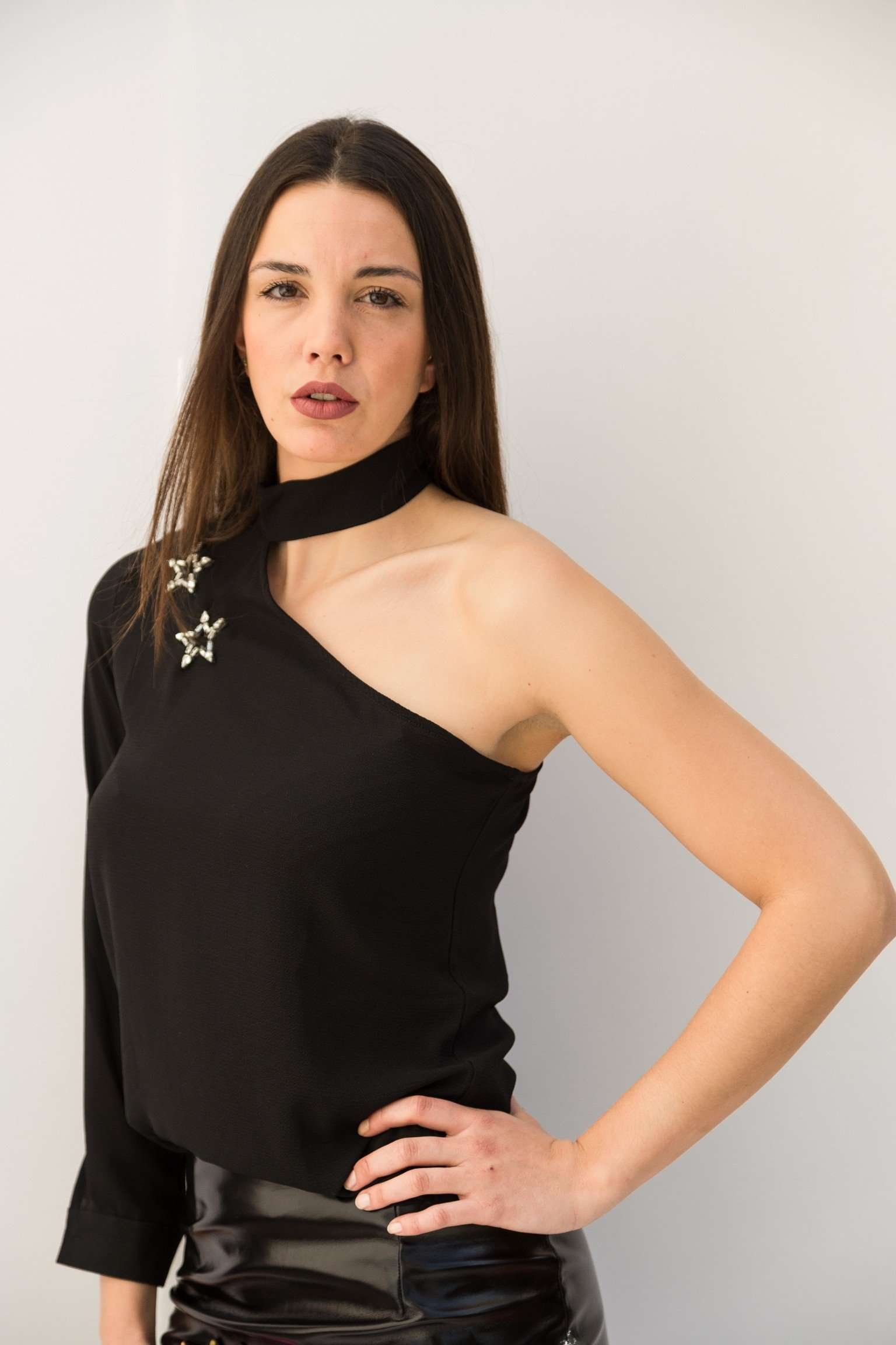 PC463-SHIRT ONE SLEEVE+STARS,Posh couture, Curated Designer at Freesigners.com
