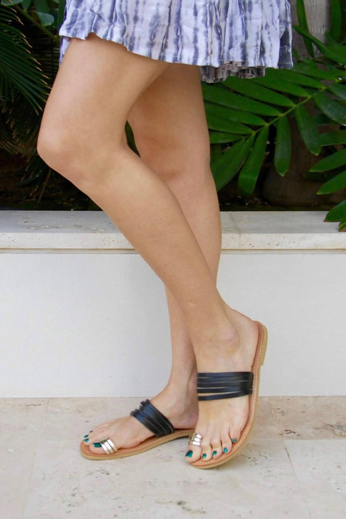 Eos Sandals with Thin Black and Gold Leather Straps,Kardia, Curated Designer at Freesigners.com