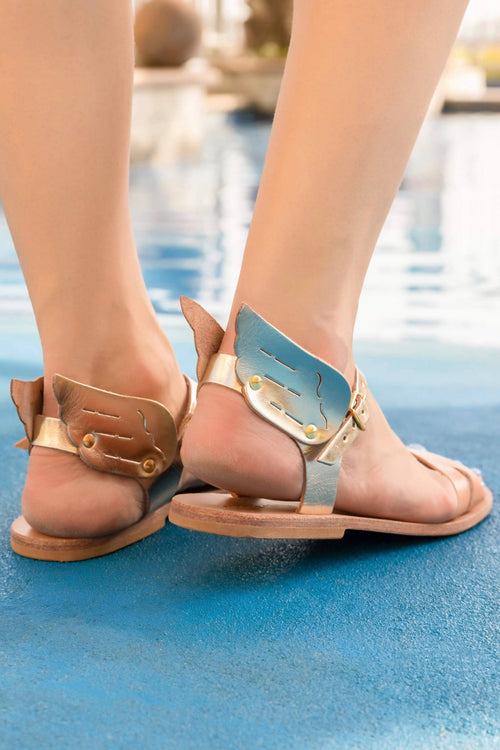 Ermes Gold Winged Leather Sandals,Kardia, Curated Designer at Freesigners.com