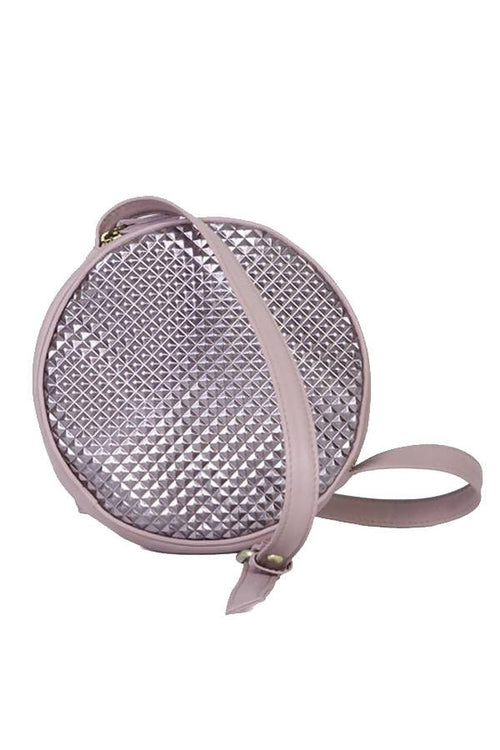 O Bag to Wear Across your Body in Leathers of Dusky Pink and Metallic,Kardia, Curated Designer at Freesigners.com