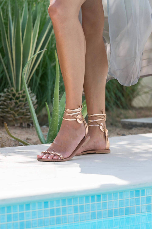 Delphi sandals in Rose Gold leather,Kardia, Curated Designer at Freesigners.com