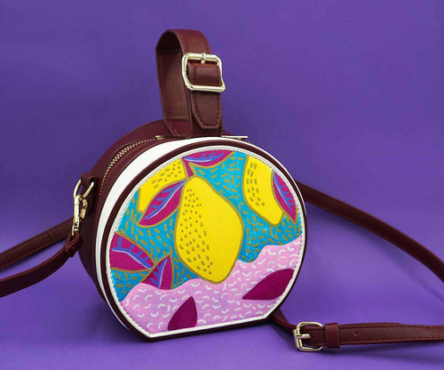 LEMONS Round Handbag,WOODO unique designer bags, Curated Designer at Freesigners.com