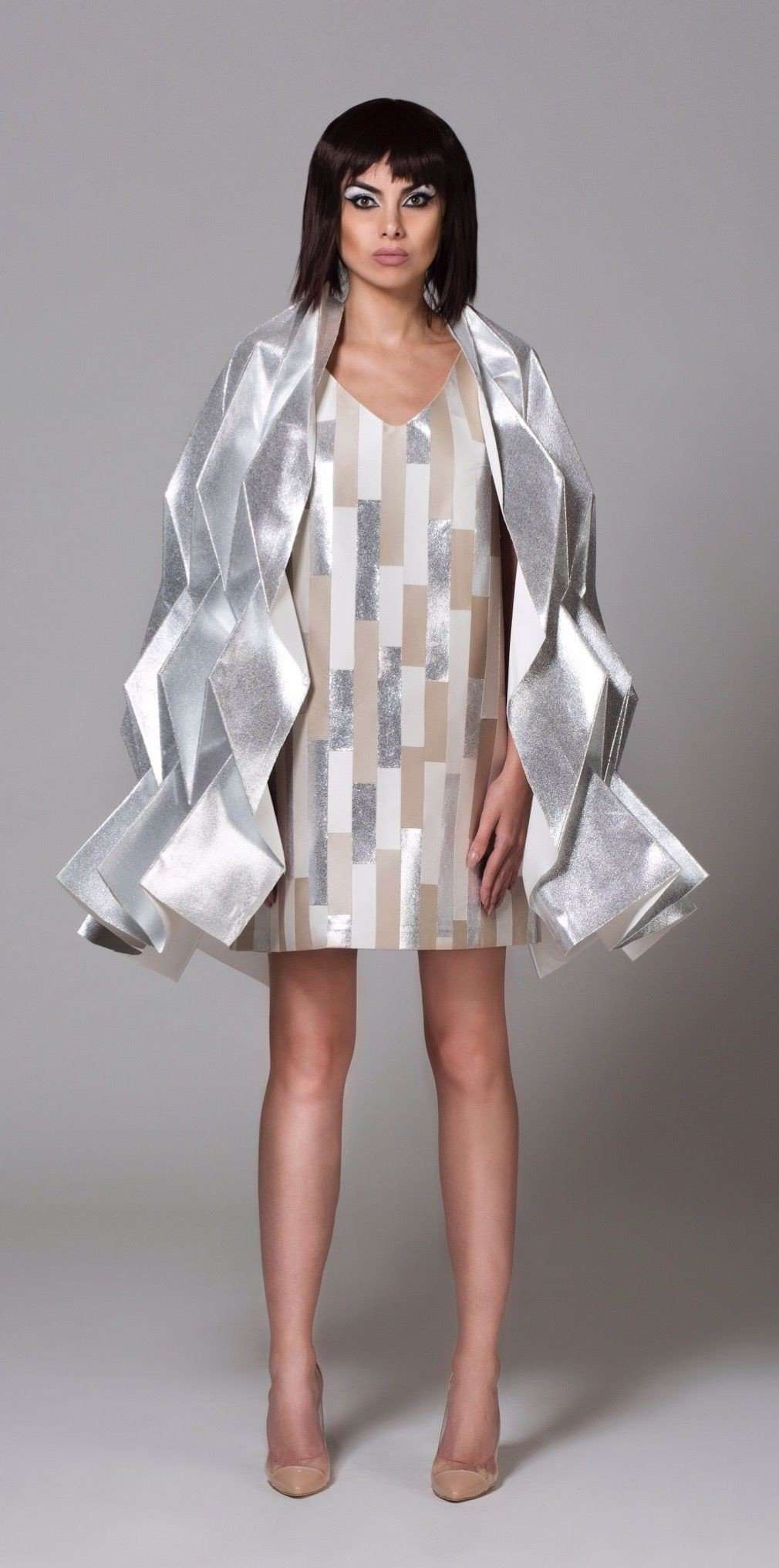 CYBORG COUTURE - PLEATED CAPE,NAYLA OBEID, Curated Designer at Freesigners.com