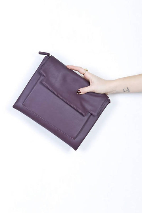 May convertible clutch bag in Aubergine leather with Removable Strap,Kardia, Curated Designer at Freesigners.com