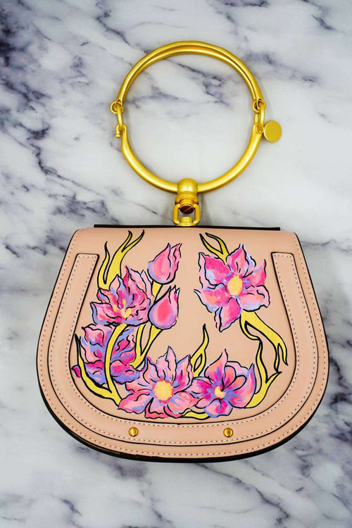 FLORAL Luxury Crossbody Bag / Metal Handle Clutch,WOODO unique designer bags, Curated Designer at Freesigners.com