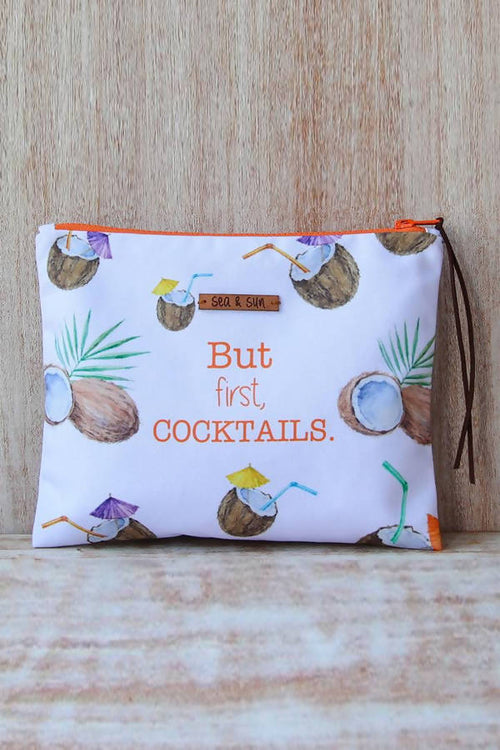Cocktails & Coconuts Waterproof lined Bag for the Pool, Beach, Travel or Makeup,Kardia, Curated Designer at Freesigners.com