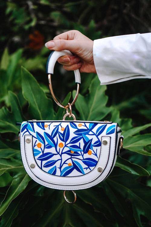 ORANGE TREE Hand Painted Semi-Circular Purse/Shoulder Bag with a Metal Handle