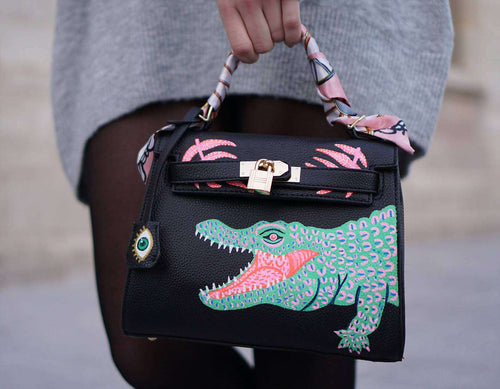 REAL CROCO Kelly Bag,WOODO unique designer bags, Curated Designer at Freesigners.com