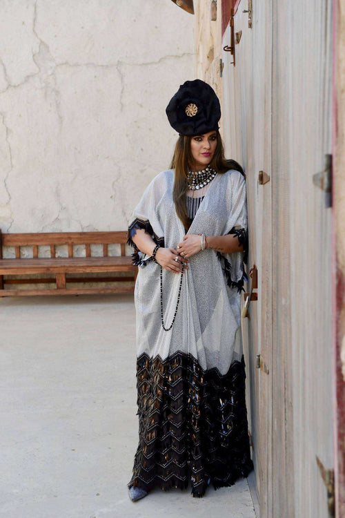 Black and Silver KIMONO,YOHANA CREATIONS, Curated Designer at Freesigners.com