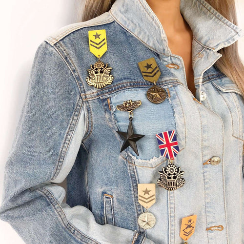 Denim army jacket,Posh couture, Curated Designer at Freesigners.com