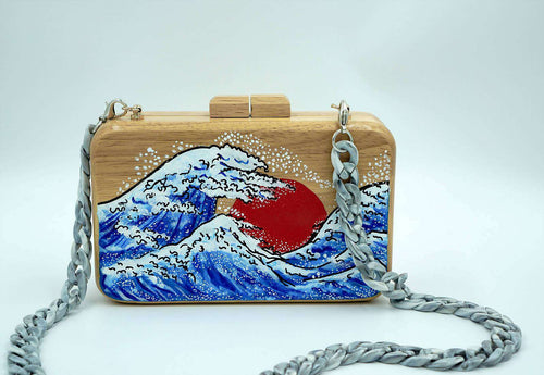 GREAT WAVE OFF KANAGAWA Large Wooden Clutch,WOODO unique designer bags, Curated Designer at Freesigners.com
