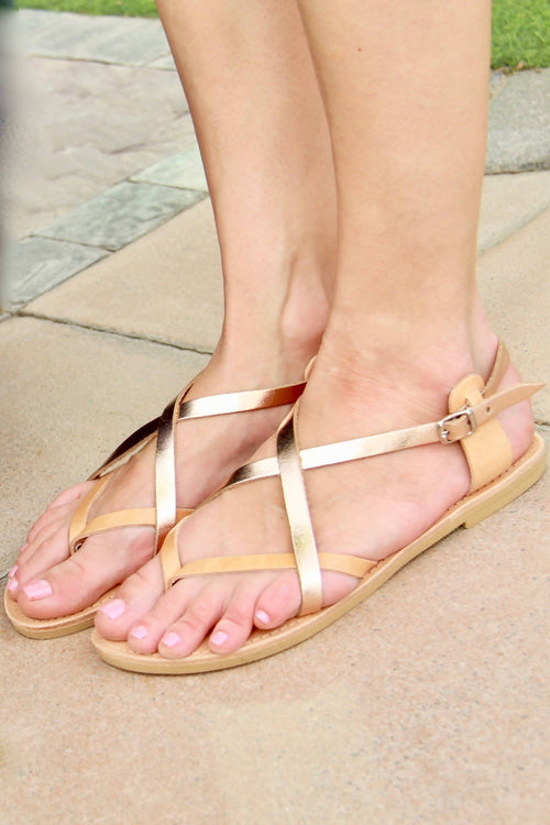 Athena Womens Sandals with Straps in Rose Gold and Natural Leathers,Kardia, Curated Designer at Freesigners.com