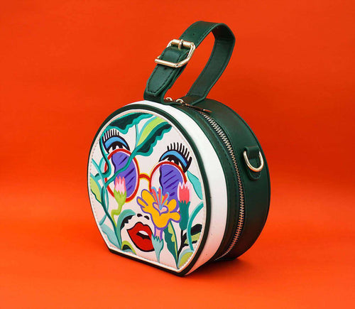 FLOWER CHILD Round Designer Hand Painted Bag,WOODO unique designer bags, Curated Designer at Freesigners.com
