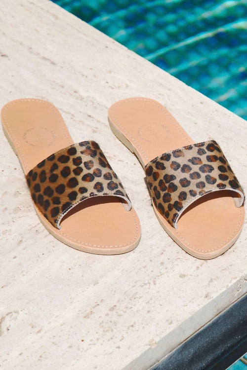 Clio Slides in textured Leopard Ponyskin leather,Kardia, Curated Designer at Freesigners.com