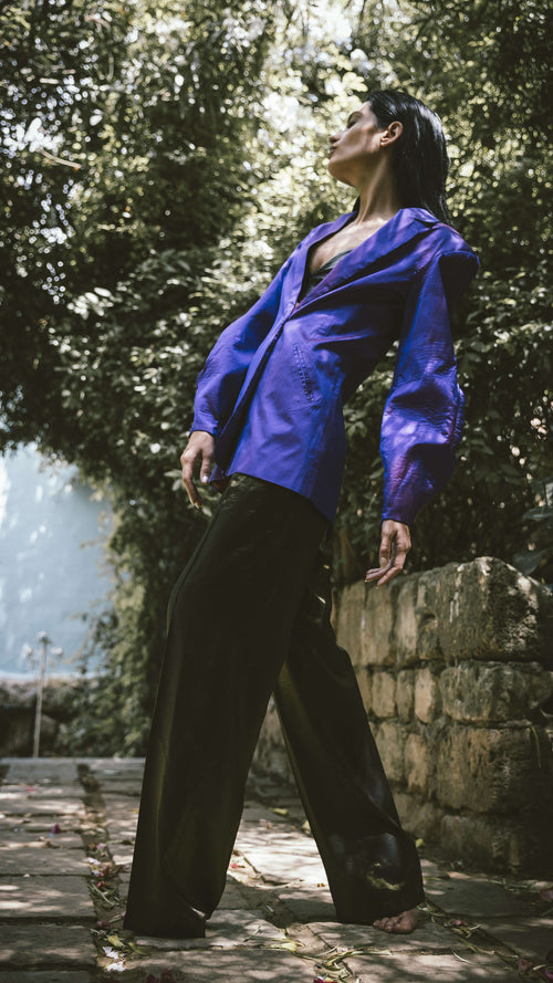 Iridescent Purple Blazer,Christie Dawli, Curated Designer at Freesigners.com