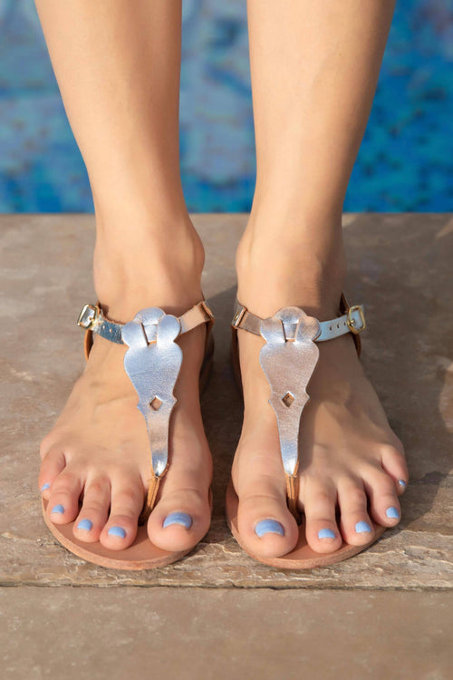 Mykonos Silver leather T bar Sandals,Kardia, Curated Designer at Freesigners.com