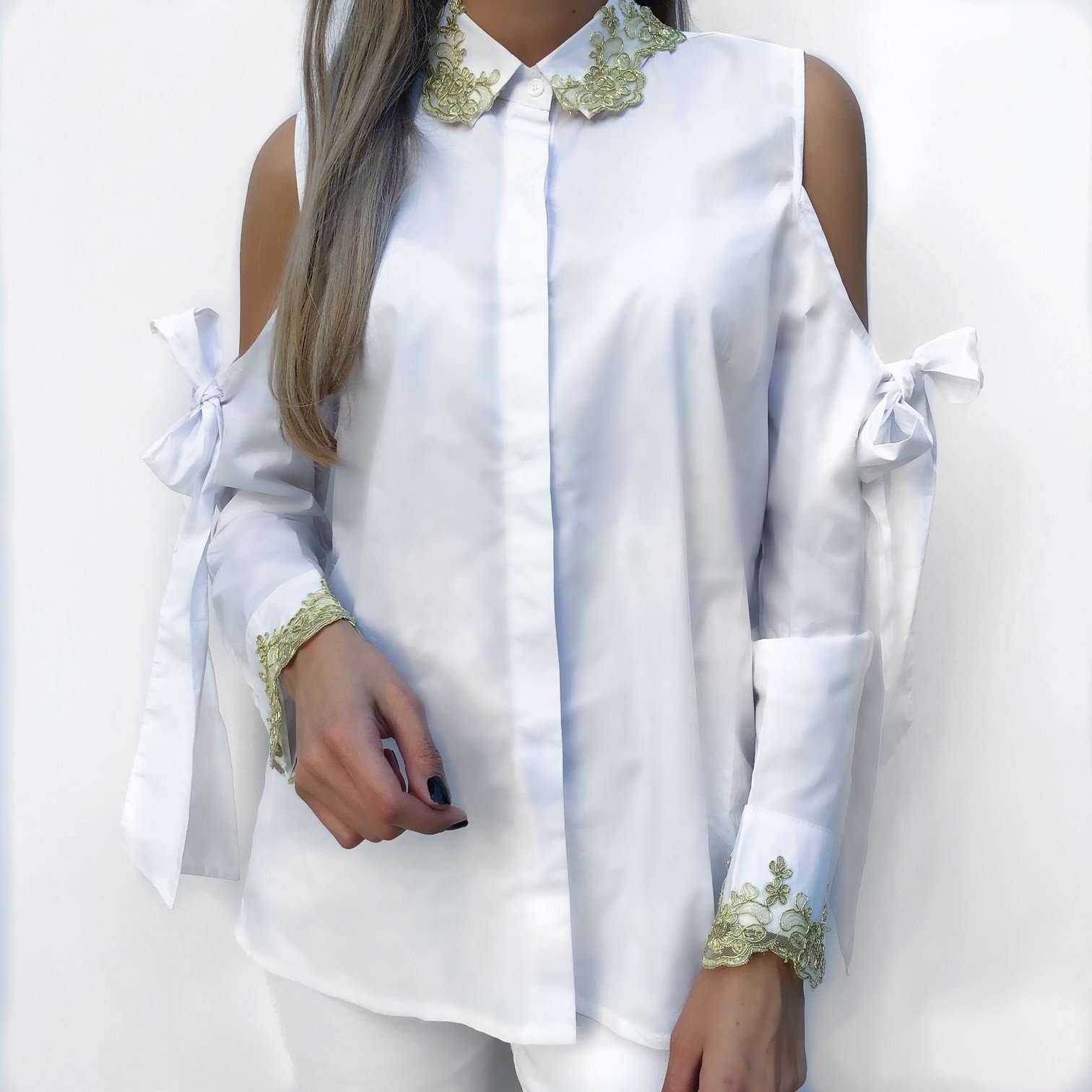 white embroidered shirt,Posh couture, Curated Designer at Freesigners.com
