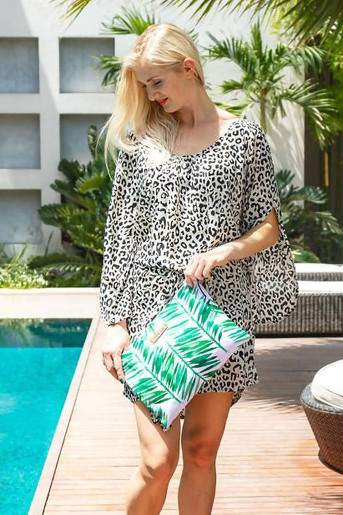 Jungle Paradise Waterproof lined Bag for the Beach, Pool, Travel or Makeup,Kardia, Curated Designer at Freesigners.com