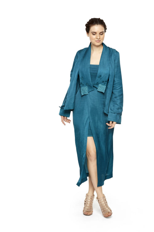 CUT WORK PATCH MIDI JACKET,Sweta Agarwal, Curated Designer at Freesigners.com