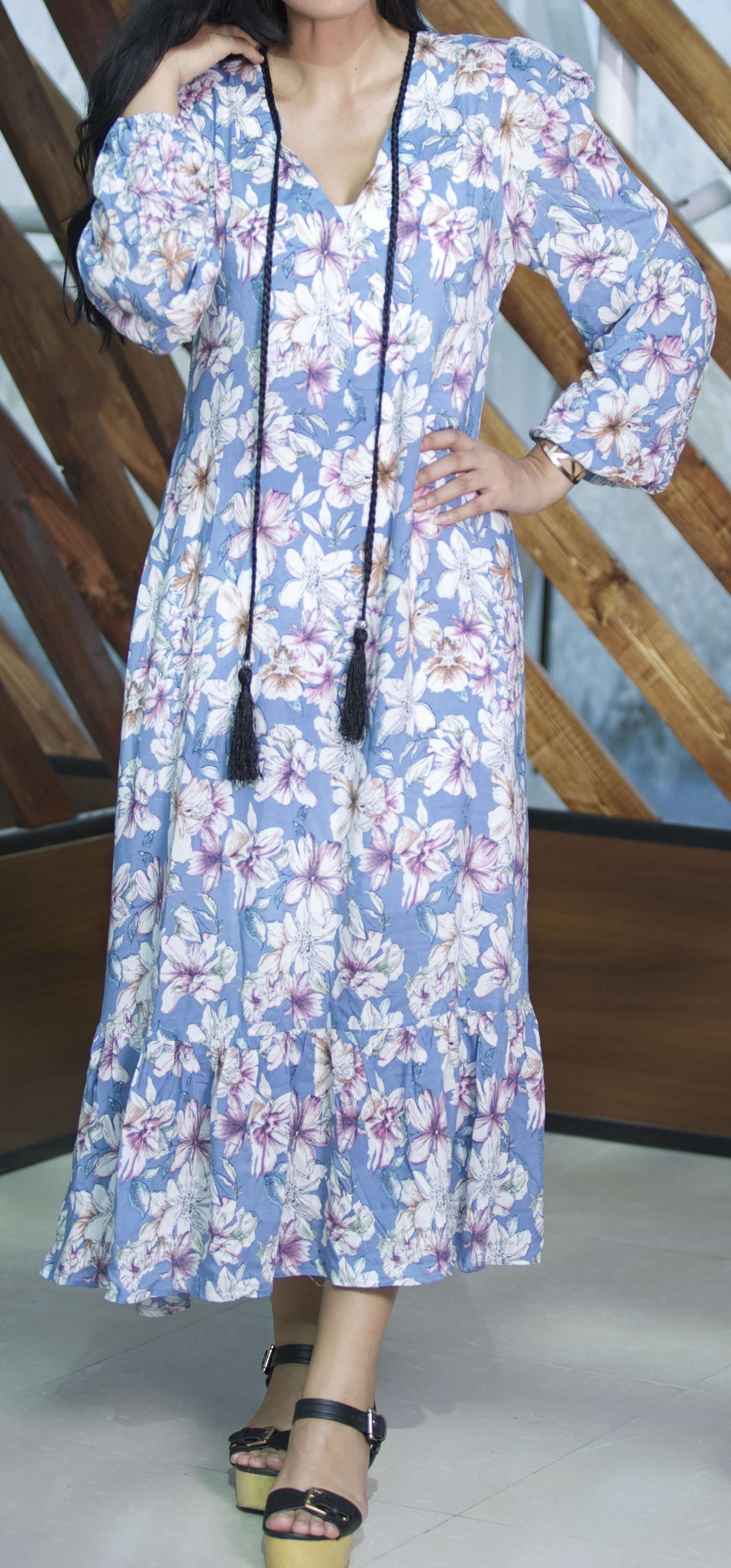 Maxi Floral dress,Eighty Seven, Curated Designer at Freesigners.com