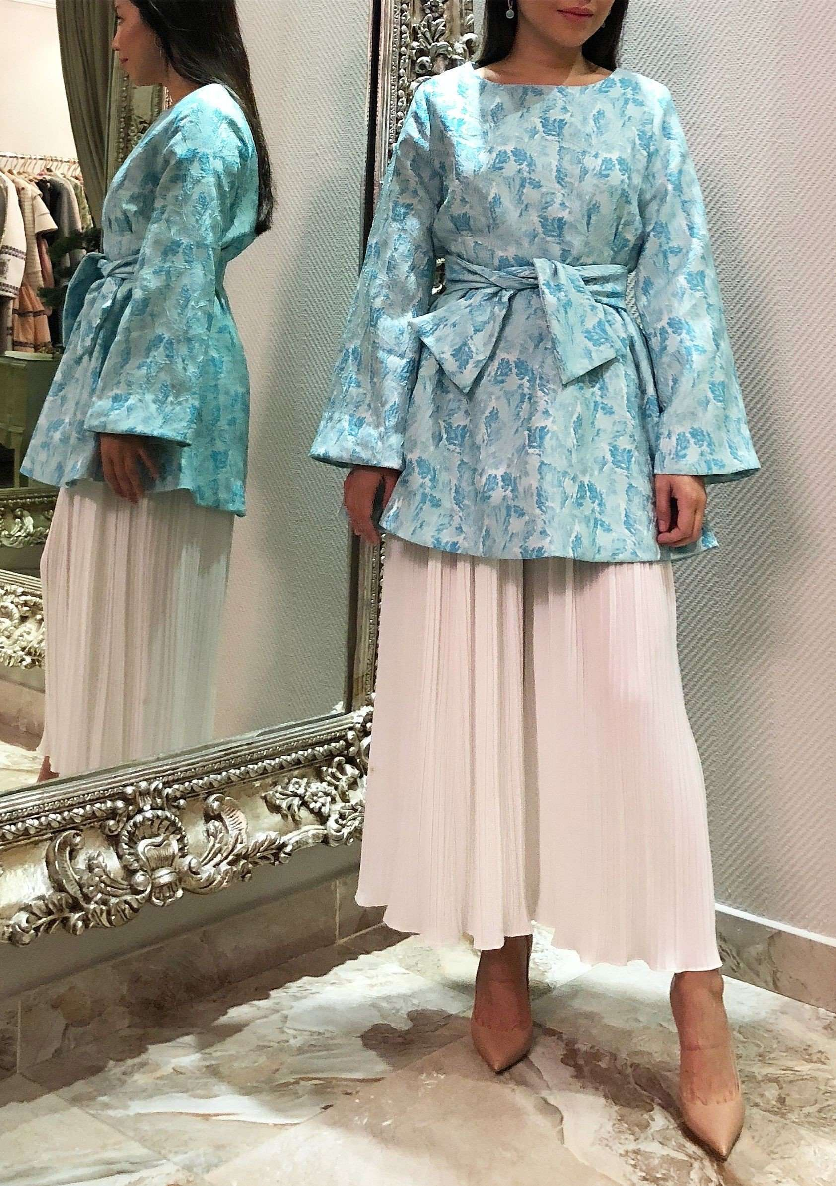Kimono inspired bow blouse - Turquoise,SARA Z, Curated Designer at Freesigners.com