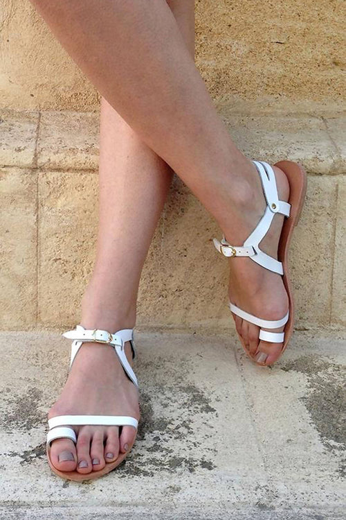 Santorini Soft White Leather Sandals,Kardia, Curated Designer at Freesigners.com