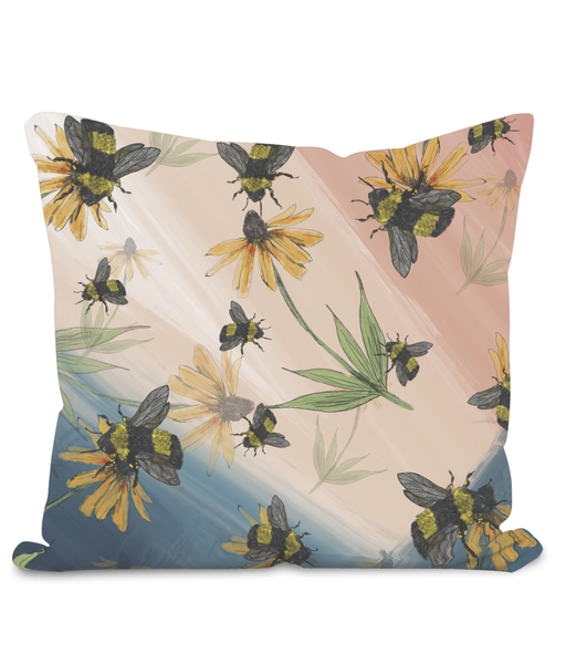 Bee & Flower  Velour Cushion