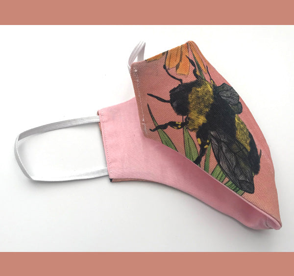 Medium Pink Bee & Flower Face Cover