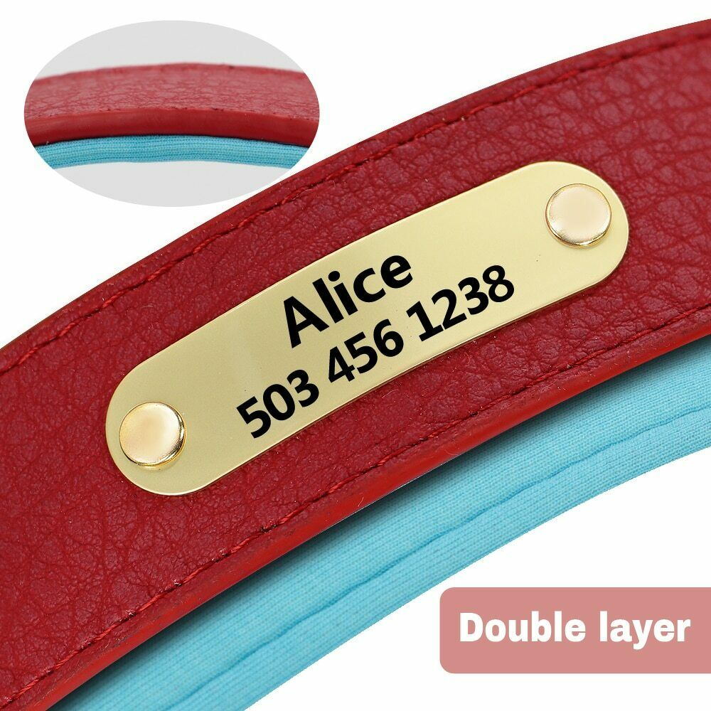 Personalised Padded PU Leather Dog Collar with ID Tags Customized Pet Collar